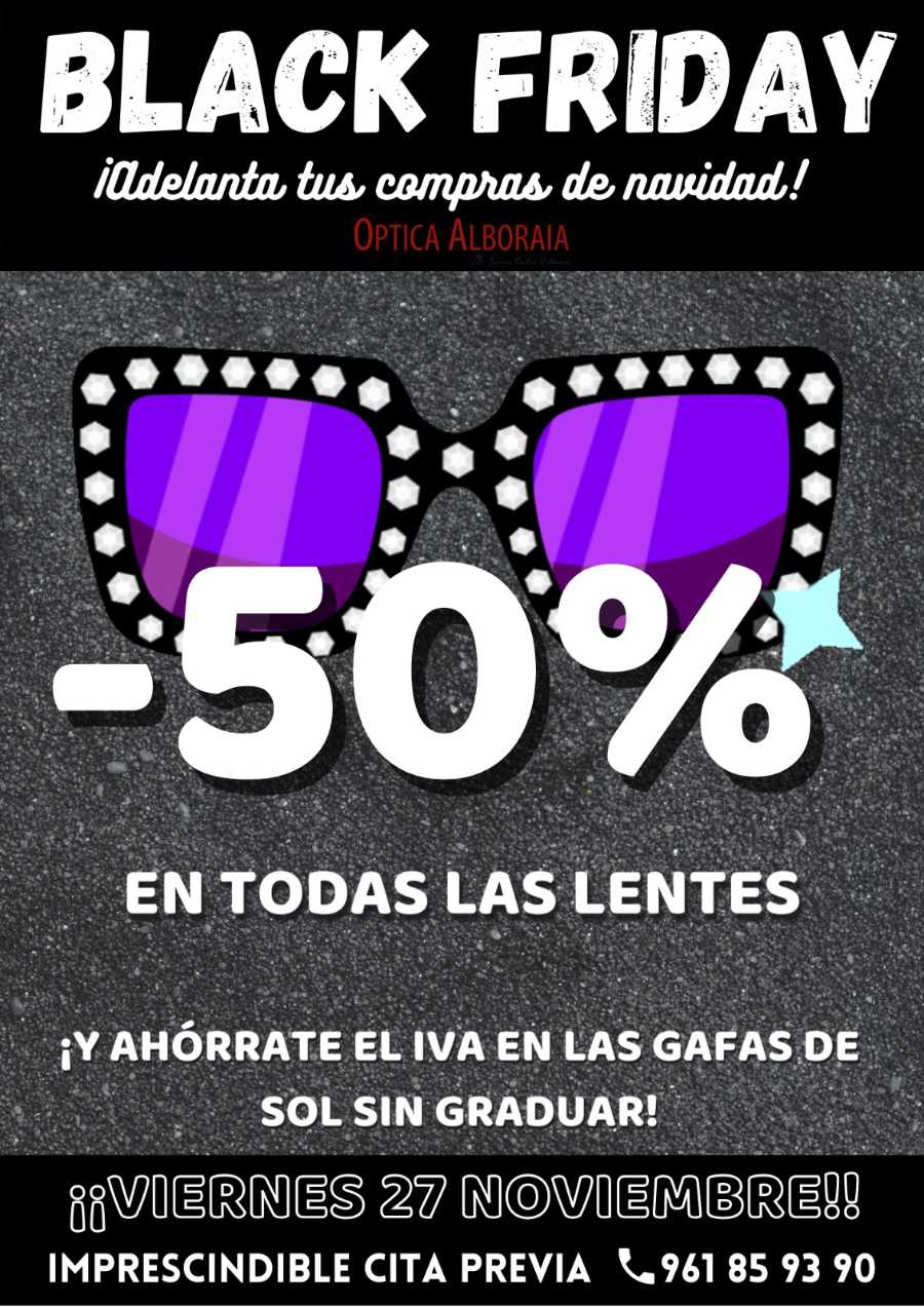 ¡Un Black Friday insuperable con un -50% de DTO en lentes!